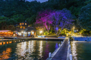 Lake Rotoiti Hot Pools by night