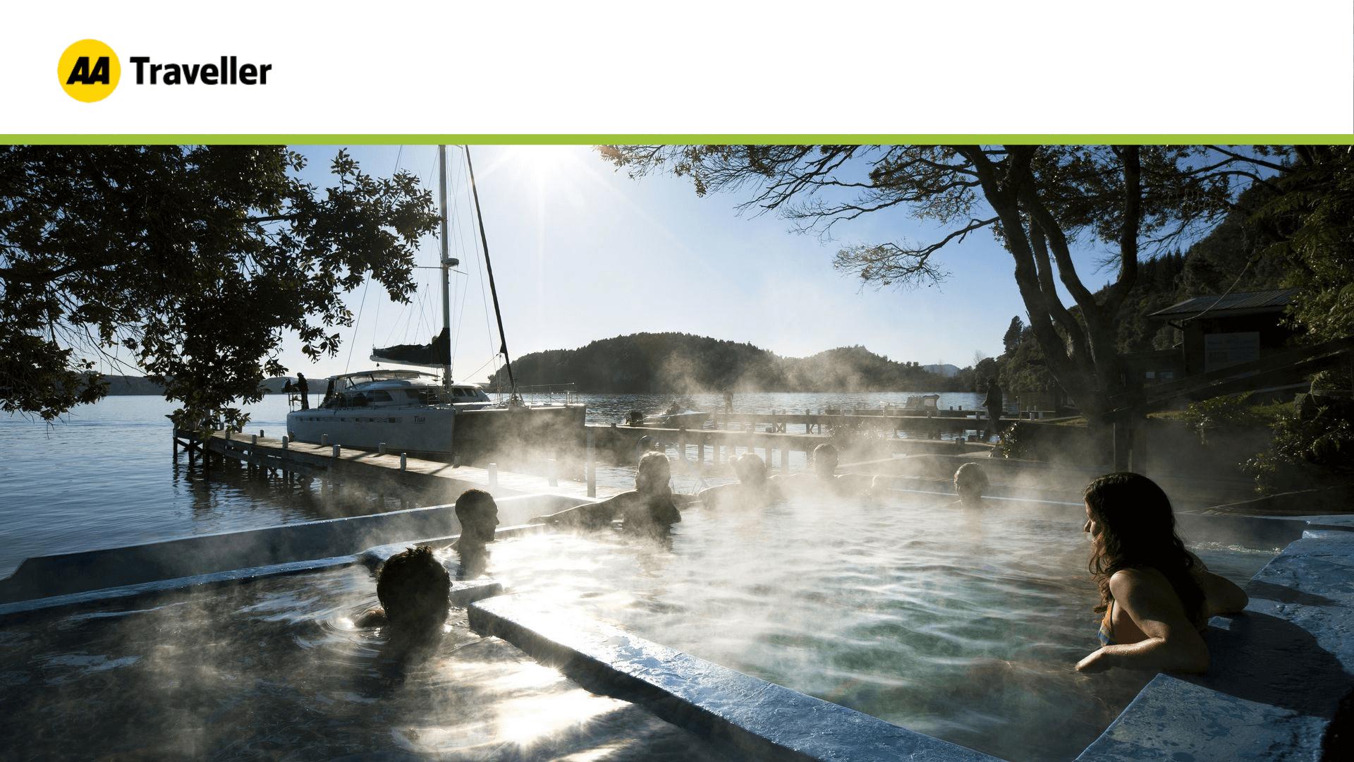 Steamy Lake Rotoiti Hot Pools on a cold morning